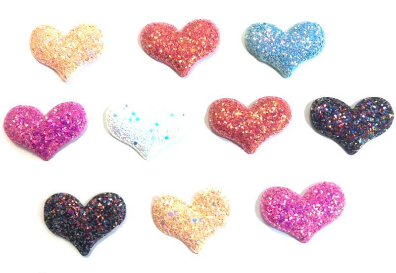 Coração Gliter  M - 10 unidades Sortidas