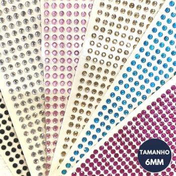 Cartela Adesiva G - Strass 6mm - Escolha a COR