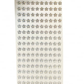 Cartela Adesiva G - Flor Strass 8mm - Escolha a COR