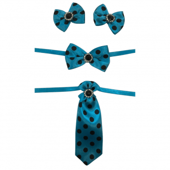 Box Semanal Laços e Gravatas - 50 unidades Estampa Azul Poá Preto