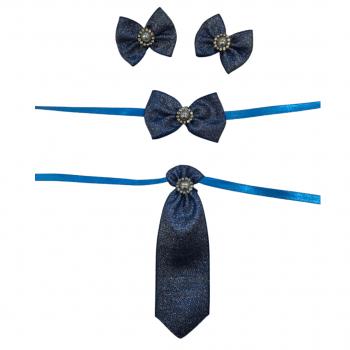 Box Semanal Laços e Gravatas - 50 unidades Estampa Azul Royal Brilhosa