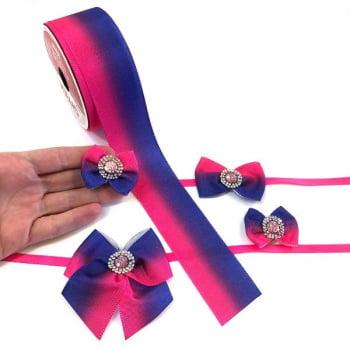 Box Semanal Laços e Gravatas - 50 unidades Estampa Bicolor Rosa/Roxo