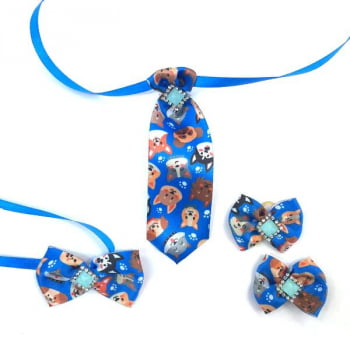 Box Semanal Laços e Gravatas - 50 unidades Estampa Cão Azul