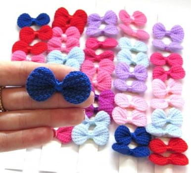 Laço Crochet M ou G - 10 unidades Sortidas - Escolha o MODELO (com elástico ou adesivo) - DESCONTOS a partir de 3, 5 e 10 Pacotes
